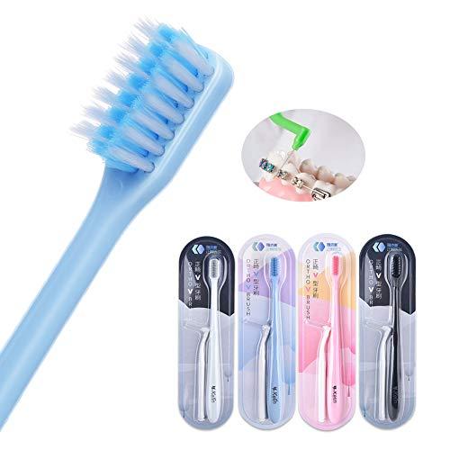 Y-kelin - Cepillo de dientes ortodontico en forma de V, cerdas suaves (4 pacchi)