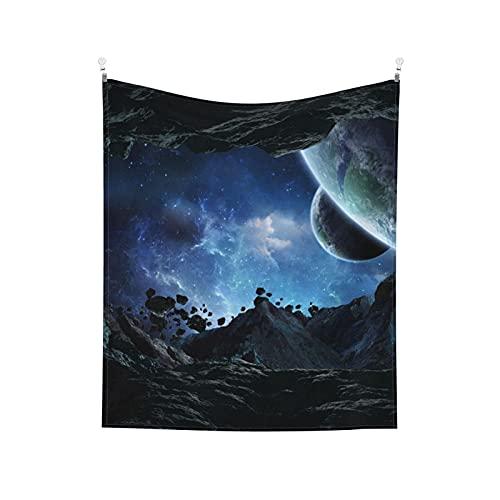 Spazio Universo Pianeta Città futura Cultura aliena Astronave Aerolite Nebulosa Blu Nero Arazzo da parete Estetico per camera da letto Arazzo 152x130 cm Spedizione prioritaria