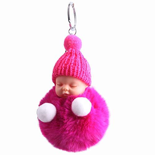 Zeagro Schlüsselanhänger aus weichem Plüsch mit niedlichem Charm, Kunstfell, Flauschiger Pompon, Schlüsselanhänger, Dekoration, 1 Stück rosarot