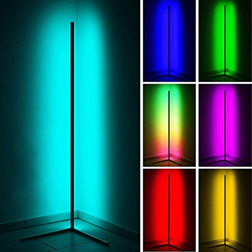 GDFGTH LED Lámpara Pie Salon RGB Regulable con Control Remoto Led Regulable Luz De Esquina Estilo Minimalista Y Moderno para Salón Dormitorio O Sala De Juegos,Negro