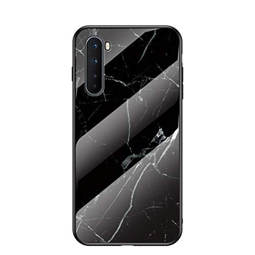 MadBee für OnePlus Nord Hülle [mit HD-Schutzfolie], Marmor Kratzfeste 9H Glas Back & TPU Silikon Rahmen und weichem Bumper Stoßabsorbierende Schutzhülle (Marmor 4)