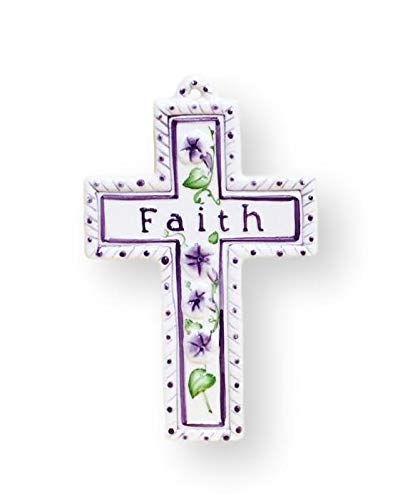 "Precious Home Collection, Purple flowers and ""Faith"" Decoration Cross, 7-1/2""L x 4-3/4""W, 80968 By ACK"
