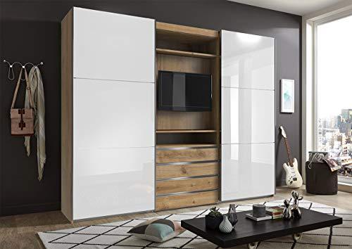 lifestyle4living Kleiderschrank in Plankeneiche-Dekor - Außentüren in Glas Weiß, Schwebetüren-Schrank mit 4 Schubkästen und drehbarem TV-Element, 300 cm