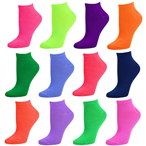 Debra Weitzner Womens Runner Ankle Socks 12 Pairs Low-Cut Colorful Socks Size 9-11