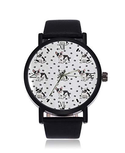 Reloj de Pulsera para Mujer con diseño de Huellas de Perro, Cuarzo, Correa de Cuero y Correa de...