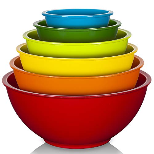 YIHONG 6 Pcs Plastic Mixing Bowls Set, Colorful Serving Bowls for Kitchen, Ideal for Baking, Prepping, Cooking and Serving Food, Nesting Bowls for Space Saving Storage, Rainbow