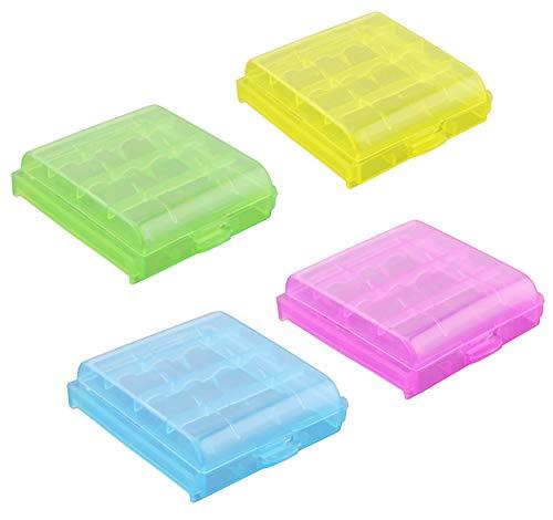 N\O CYJZHEU Caja Protectora Batería, 8 Piezas Caja de Batería de Plástico portapilas AA para Almacenamiento de Pilas AA AAA y Pilas Recargables 4 Celdas 61x67x17 mm, (Rojo, Amarillo, Verde, Azul)