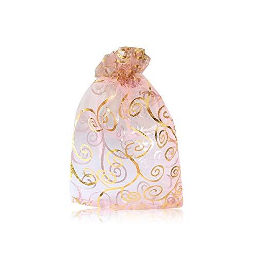 YFZYT 100 Stücke Organzabeutel Organzasäckchen Tunnelzug Geschenktüten Schmuckbeutel für Hochzeit Gunst Taschen Geschenk - 10x15 cm/3.94x5.91 Zoll, Rosa Gold