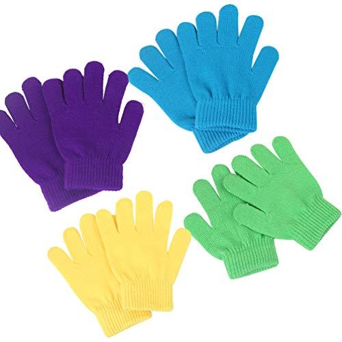 NUOBESTY 4 Paires Enfants Gants Magiques Gants Magiques Chauds Hiver Gants en Tricot Extensible pour Adolescents Garçons Filles (Couleur Aléatoire)