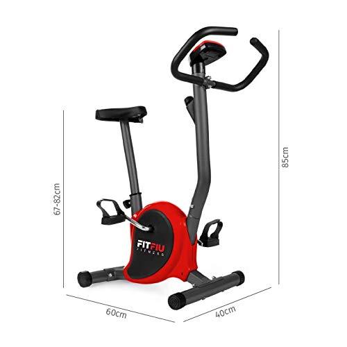 41wSQo5F6kL - FITFIU Fitness BEST-100 Bicicleta estática compacta color Rojo, regulable en 8 niveles de resistencia, sillín ajustable en altura y pantalla LCD, Entrenamiento fitness en casa