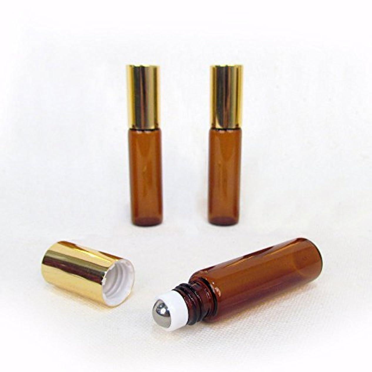 通行人感染するかろうじてSet of 3-5ml Brown Amber Glass Roll On Bottle With Stainless Steel Ball for Essential Oils by Rivertree Life [並行輸入品]