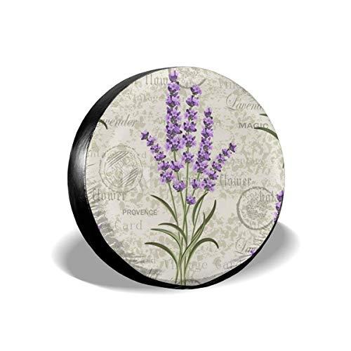 Hokdny Cubierta de Repuesto para Cubierta de neumático de Rueda con diseño Floral de Lavanda (14 a 17 Pulgadas)