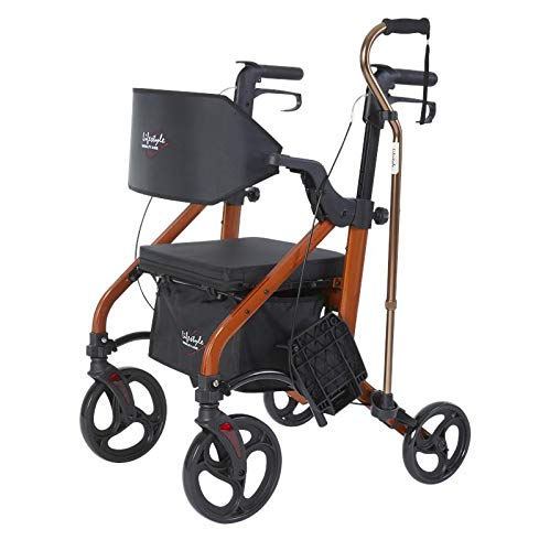 Lifestyle Mobility Aids Deluxe Translators - 2 in 1 Rollator Transport Chairs (Amber Sunrise)