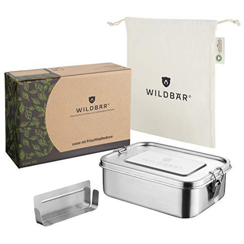 WILDBÄR® - NEU - Dichte Premium Edelstahl Brotdose mit Fächern 1200ml als innovatives Set. BPA- und plastikfreie Lunchbox mit Abtrennung und Naturbaumwollbeutel. Nachhaltig, ideal auch für Kinder