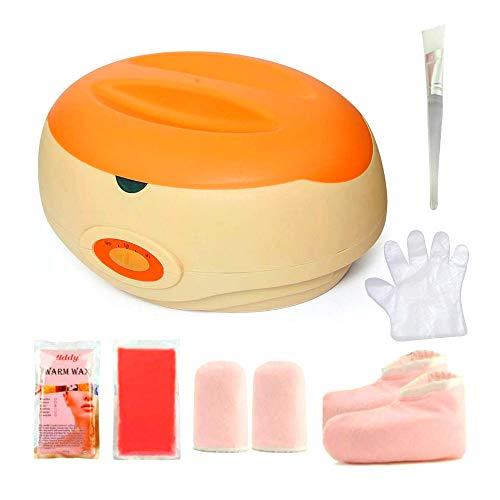 Calentador de parafina Baño de parafina Calentar muy Rápido Calentador de Parafina para Manos y Pies Juego botines aguantes+parafina (KIT-Naranja) ⭐