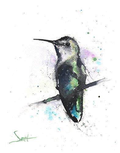 Hummingbird and cactus southwest inspired watercolor monotype limited edition print