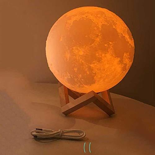 Wlnnes 16 Farben LED RGB LED Farbwechsel Drucken 3D Erde Licht Creative 3D Mond Nachttischlampe Globe Night Light Schreibtisch USB Fuß Lampe Holz Schlafzimmer Moonlight Remote