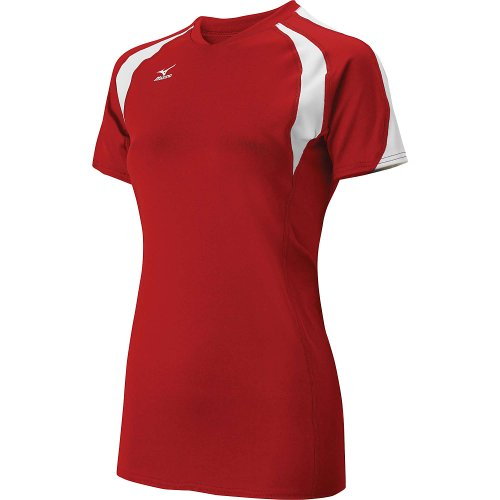 Mizuno Womens Techno Volley III Short Sleeve Volleyball Jersey - SIZE: Medium, COLOR: Red/White