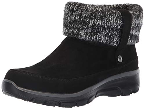 Skechers Women's Easy Going-Heighten-Foldover Knit Collar Boot Ankle, Black, 9 M US