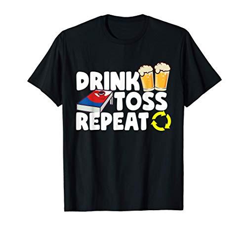 Drink Toss Repeat Beer Cornhole Player Bean Bag Gift T-Shirt