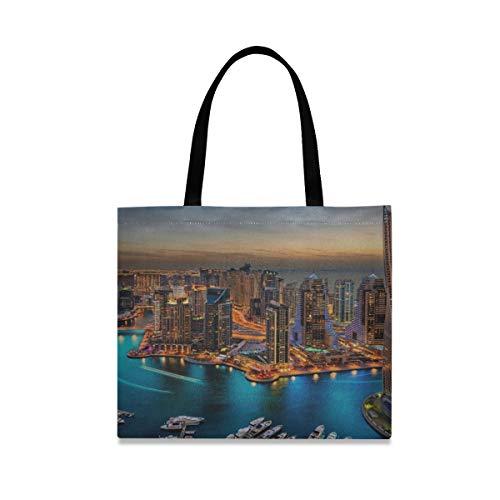 Bolsos de hombro de gran capacidad cuadrada para niñas The Super Rich Country Dubai Bolsos de compras reutilizables de mano 19.7 X 16.9in Impresión para niñas Damas de compras Trabajo diario