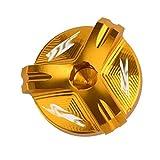 Filtro Moto Olio Motore Tazza della Copertura Vite Tappo dell'olio Tappo di Scarico Accessori Motore/Forma for Yamaha R1 R3 R6 YZF-R3 YZF-R6 YZF-R1 YZF-R25 MT07 MT07 (Color : YZF Logo Gold)
