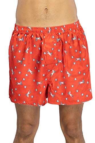 Valentine's Day Unicorns and Hearts Red Boxer Shorts - Large