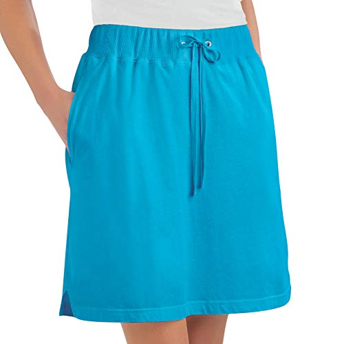 Collections Etc Women's Drawstring Cotton Knit Pull-On Skort with Elastic Waistband - Casual Summer Apparel, Turquoise, Large
