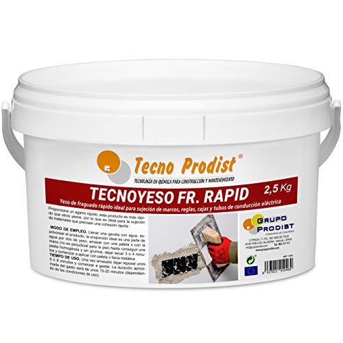 TECNO YESO RAPID de Tecno Prodist, (2,5 Kg) Yeso de fraguado rápido. Ideal para sujeción de marcos, reglas, cajas y tubos de conducción eléctrica.