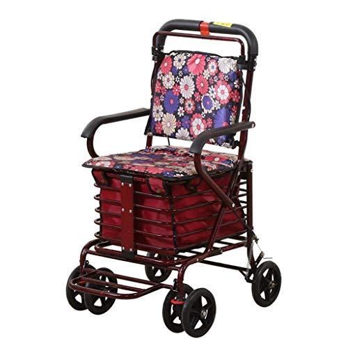 PNYGJZXQ Ouderen Rolling Walkers Old Man Trolley Winkelwagen Draagbare Walker Vouwen Rolstoel kan een pauze nemen om voedsel te kopen voor senioren Indoor Outdoor gebruik