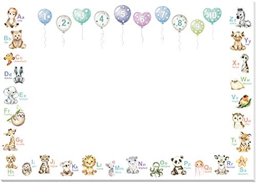 artpin Vade de escritorio para niños – ABC Animales números – Bloc de dibujo A3 25 páginas – Vade para colorear niña niño niño pintura dibujo preescolar guardería escolarización S1