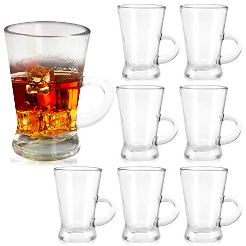 Shot Glasses 4oz,Small Coffee Mugs With Handle Espresso Cups,Vodka Glass Cups For Liqueur,Spirits,Whisk Glass Cups For Shooter Glass,Cordial Glasses,Tequila Glass Shot Cups Mini Irish Coffee Cup 8pack