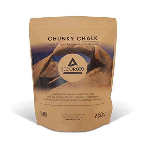 Secoroco Chalk grobkörnig 650g, ideales Magnesiumcarbonat zum Klettern, Bouldern & Kraftsport. Beutel mit Druckverschluss