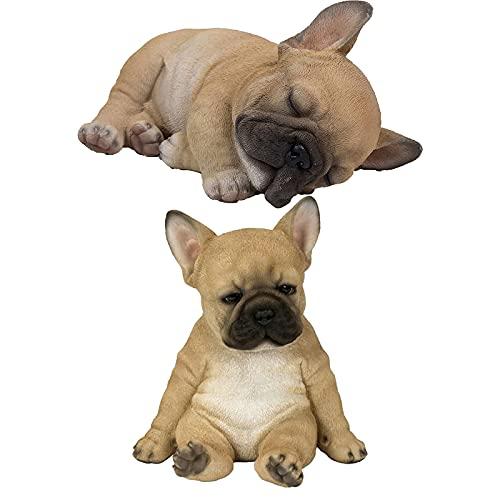 Bulldog Puppy Statue,Sleeping French Bulldog Puppy Statue,Garden Resin Animal Sculpture, Resin Lawn Sculpture Super Garden Yard Decor (A+B)