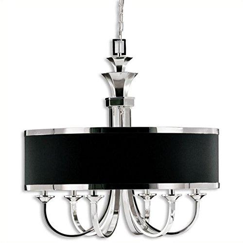 Hot Sale Uttermost 21130 Tuxedo 6-Light Single Shade Chandelier, Silver Plated Finish