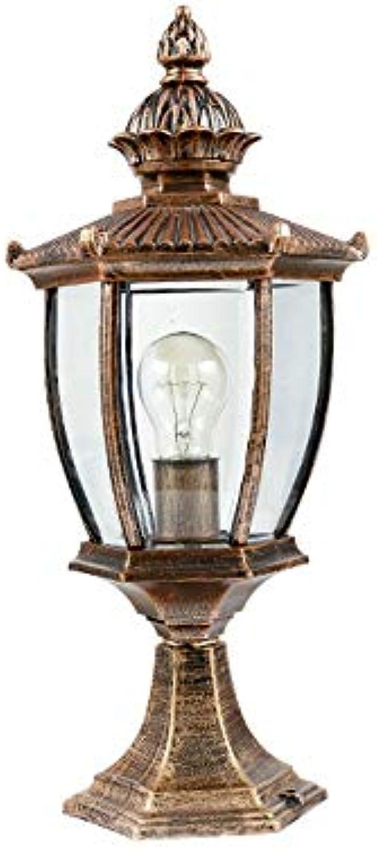 Xiao Fan   Europische Auflistung E27 LED Garten Landschaft wasserdichte Sule Kopflampe Outdoor Tischlampe Rasen Garten Garten Lichter Strae Post Licht (Farbe  Bronze)
