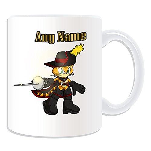 De regalo con mensaje personalizado - taza de desayuno de gato mosquetero (molde para hacer una diseño de, blanco) - nombre personalizable para/de mensaje tu diseño de - botas de espada para v