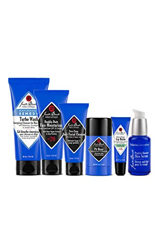 Jack Black - Major Minis - Double Duty Face Moisturizer, Pit Boss Antiperspirant & Deodorant, Intense Therapy Lip Balm SPF 25 Turbo Wash Energizing Cleanser and Protein Booster Skin Serum, 6 Piece Set