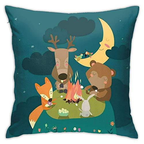 SHUJIA Funda de almohada para cojín, diseño de animales que descansan alrededor de hoguera, zorro reno, pájaros bajo la luna, cielo nocturno y tiempo de amigos, 45,7 x 45,7 cm