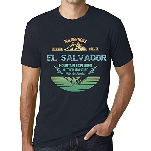 One in the City Hombre Camiseta Vintage T-Shirt Gráfico EL Salvador Mountain Explorer Marine