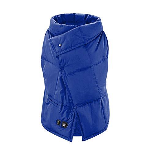 Fr & RF Chaleco calefactor de carga USB Chaleco eléctrico Calefacción portátil Chaleco ligero manta para mujeres hombres invierno senderismo camping cálido chaleco manta, azul M