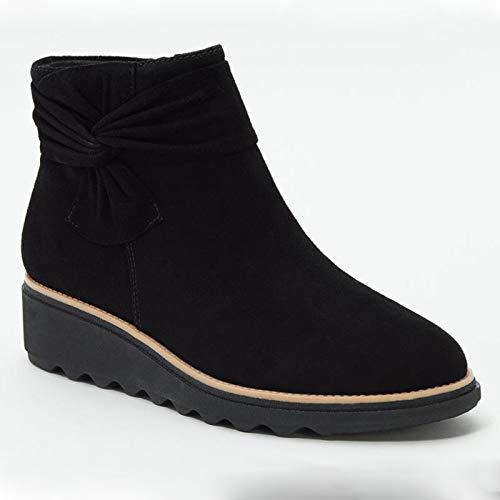 Botines Mujer Botas Planas Botas Cortas con Cremallera Vintage Zapatos cómodos de Mujer,Negro,39