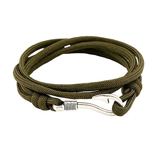 JUNGEN Paar Armband Seil Armbänder mit Angelhaken Vintage Armkette Schmuck, Grün