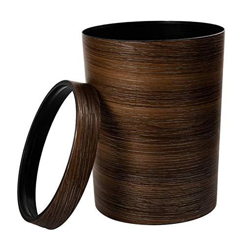 BENGKUI WUWENJIE Estilo Retro Presión de prensado de la Basura de plástico de la Oficina doméstica Mimético de Madera Mimético Grano Banura Bandeja - marrón Oscuro (Color : Chocolate)