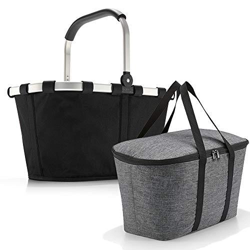 reisenthel carrybag mit coolerbag Einkaufkorb Einkaufstasche Isobag Isotasche Kühltasche Kühlkorb (Black + Twist Silver)