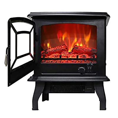 17 inch 1400w Freestanding Fireplace Fake Wood/...