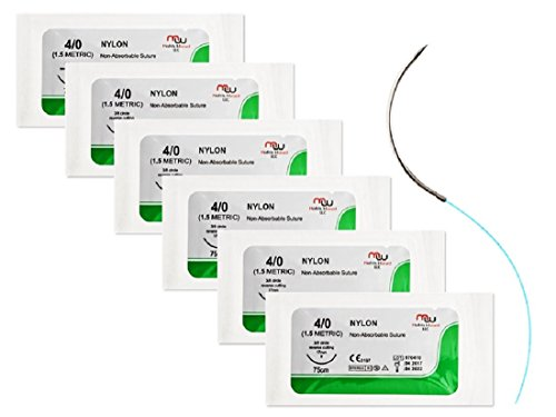Sterile Sutures Thread with Needle (6 Suture Pack) for Medics, Medical, Physician Assistant, Nursing, Veterinary Student's Surgical Suture Practice Kit, Stitching Pad and Emergency Training Set