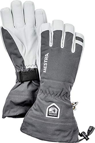Hestra Army Leather Heli Ski Glove - Classic 5-Finger Snow Glove for Skiing, Snowboarding and Mountaineering - Grey - 10