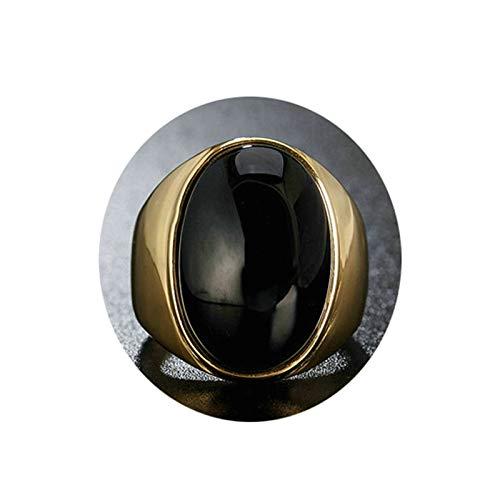 AYDOME Edelstahlringe für Männer Schwarz Oval Stein Opal Männer Ring Partnerringe Gold Herren Ringe Größe 60 (19.1)