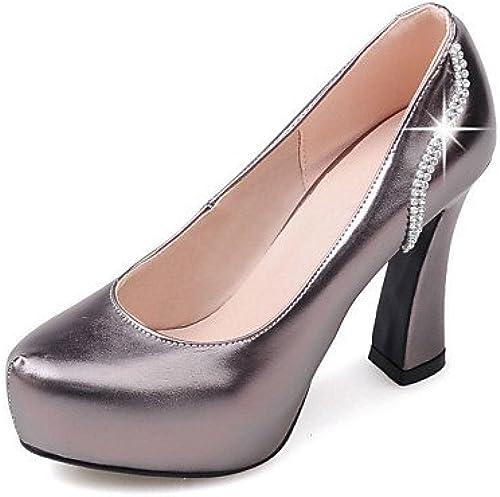 BGYHU GGX Damen Schuhe PU Fall Fall Fall Heels Plattform Schuhe Heels Office & Karriere Kleid Casual geschoben Ferse Schlupfhalsband  hohe Qualität